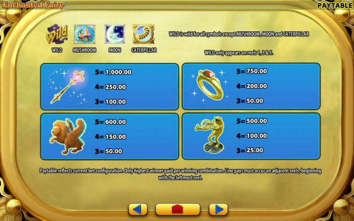 No Deposit Casino Guide - Low value game symbols paytable - include a magic wand, a winged lion, a ruby ring and a trumpet playing frog.
