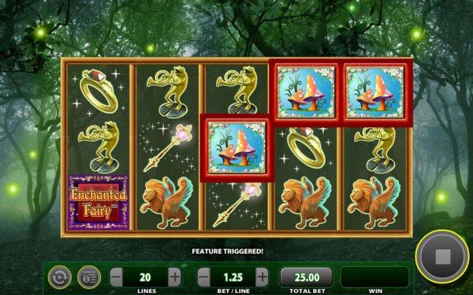 Landing three Mushroom symbols on reels 3, 4 and 5 triggers the Magic Mushroom Feature. - No Deposit Casino Guide