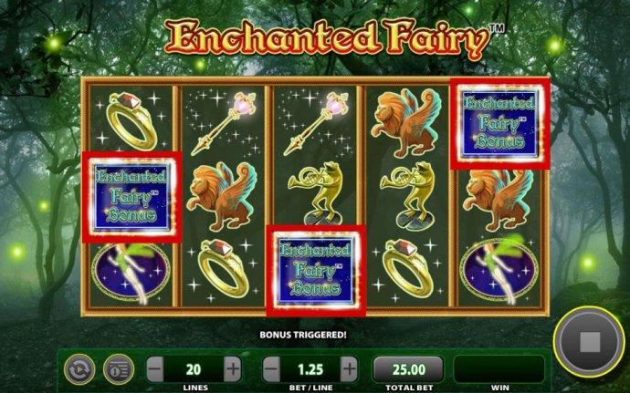 Enchanted fairy Bonus triggered by three scattered bonus symbols. - No Deposit Casino Guide