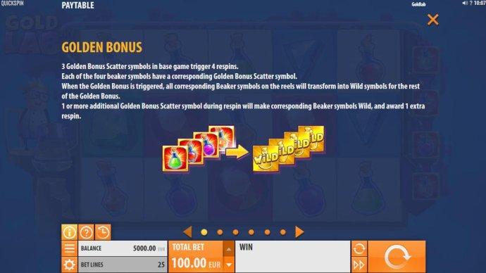 3 Golden Bonus scatter symbols in base game trigger 4 respins. Each of the beaker symbols have a corresponding Golden Bonus Scatter symbol. by No Deposit Casino Guide