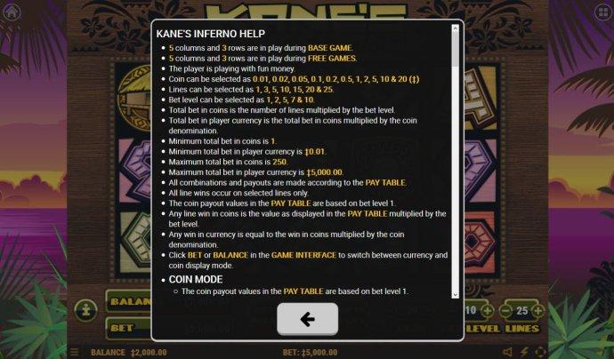 No Deposit Casino Guide image of Kane's Inferno