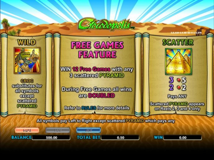 No Deposit Casino Guide - wild, scatter and free games paytable