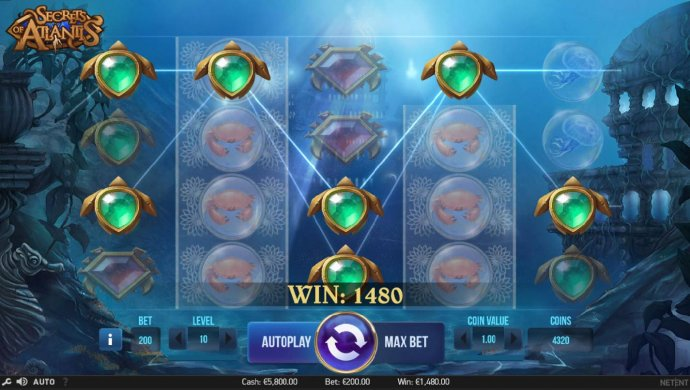 No Deposit Casino Guide - A 1480 coin big win triggered by multiple winning paylines.