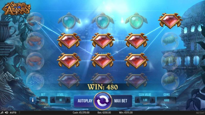 A colossal symbol leads to multiple winning conbinations and a 480 coin payout. - No Deposit Casino Guide