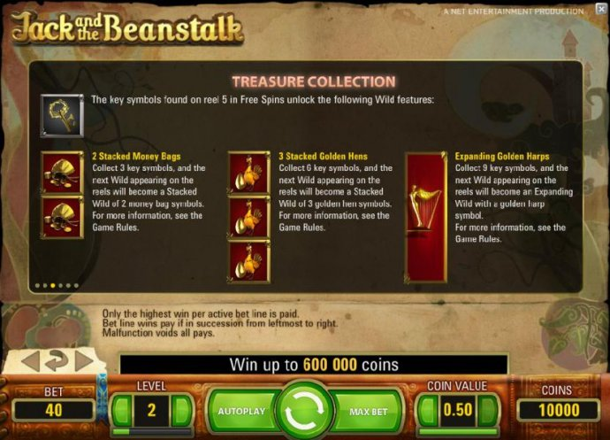 treasure collection - the key symbols found on reel 5 in free spins unlock the following wild features, 2 stacked money bags, 3 stacked golden hens and expanding golden harps - No Deposit Casino Guide