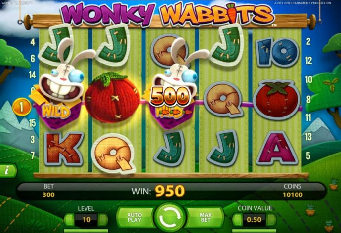 a 950 coin payout triggered by a pair of wild symbols by No Deposit Casino Guide