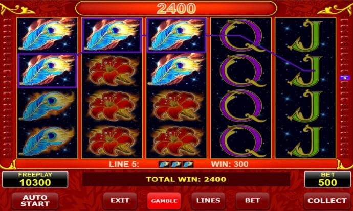Feather symbols triggers a 2400 coin payout by No Deposit Casino Guide