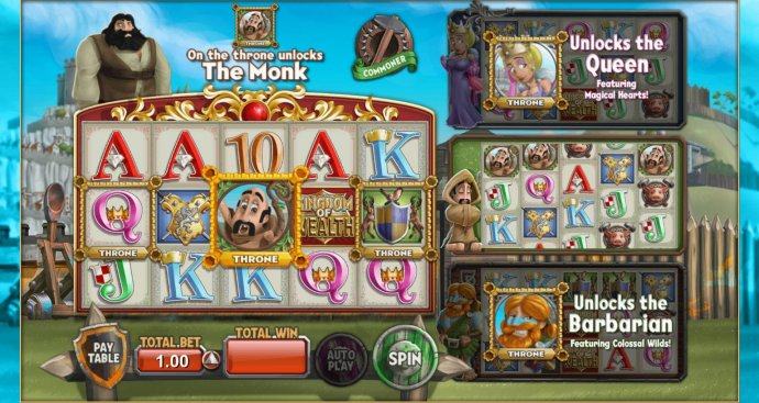 Monk on the throne unlocks the Monk feature by No Deposit Casino Guide