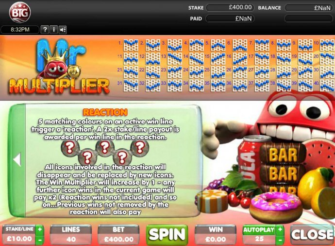 No Deposit Casino Guide - Reaction Multiplier - 5 matching colours on an active win line trigger a reation. A 2x stake per line payout is awarded per win line in the reaction.