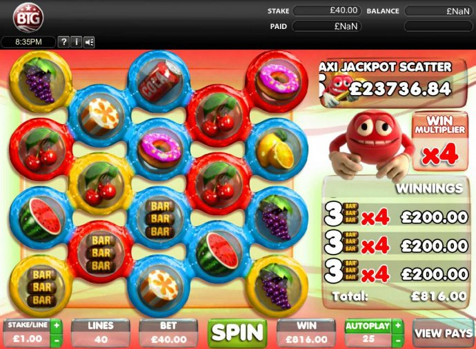 Multiple winning paylines triggers a 816.00 big win! by No Deposit Casino Guide
