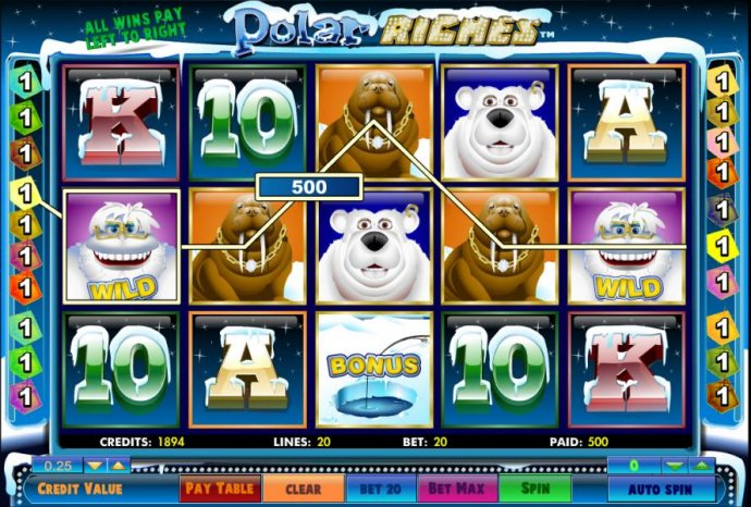 No Deposit Casino Guide - five of a kind triggers a 500 coin big win jackpot