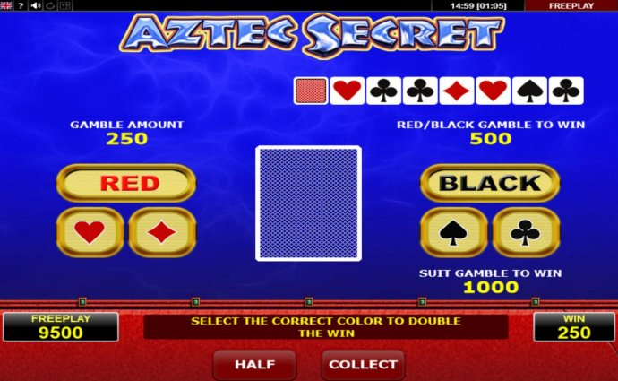 Gamble Feature - To gamble any win press Gamble then select Red or Black or Suit by No Deposit Casino Guide