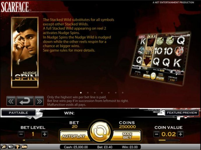 Scarface slot game stacked wild and nudge spin by No Deposit Casino Guide