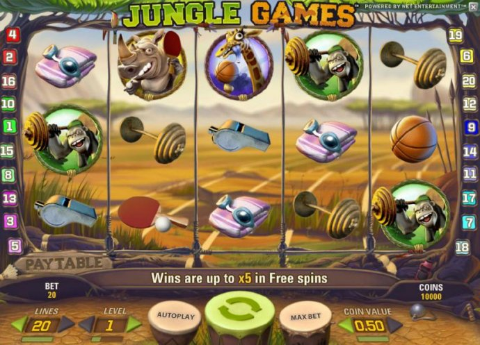 main game board featurng five reels and twenty paylines. wins are up to x5 in free spins by No Deposit Casino Guide