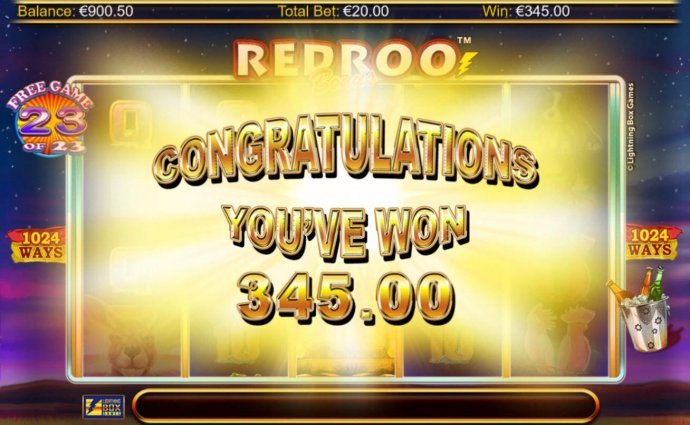 Total free spins payout 345.00 by No Deposit Casino Guide