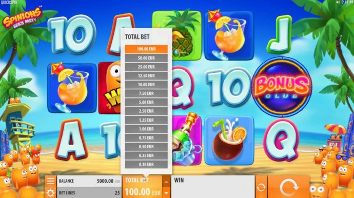 No Deposit Casino Guide - Click on Total Bet to choose a line stake