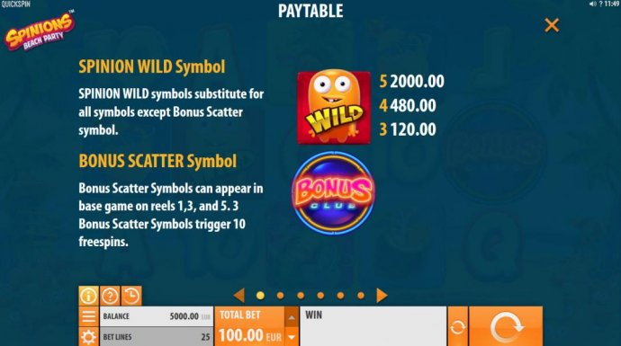 No Deposit Casino Guide image of Spinions Beach Party