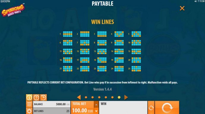 Payline Diagrams 1-25 by No Deposit Casino Guide