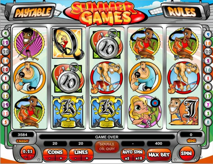 Main game board featuring five reels and 20 paylines with a $500,000 max payout. - No Deposit Casino Guide