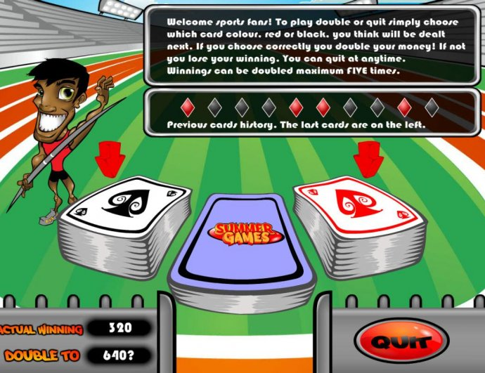 Double or Quit - Simply click on RED or BLACK card to double your winnings. by No Deposit Casino Guide