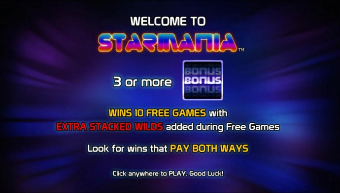 3 or more bonus symbols wins 10 free games with extra stacked wilds added during free games. Lokk for wins that pay both ways. by No Deposit Casino Guide