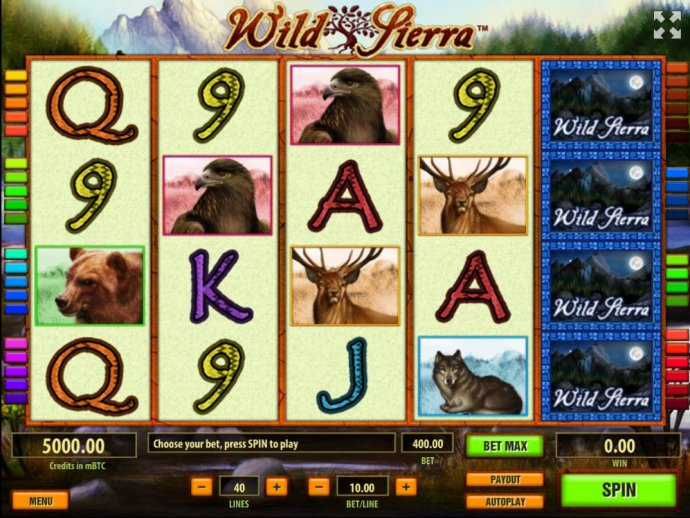 A wild outdoor adventure themed main game board, featuring five reels and 40 paylines with a $10,000 max payout by No Deposit Casino Guide