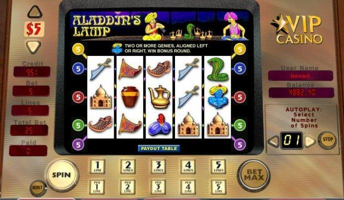 No Deposit Casino Guide image of Aladdin's Lamp